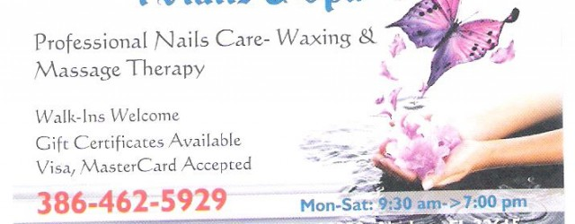 Professional Nail Care, Waxing, & Massage Therapy 15530 NW US Highway 441, Suite 10030 Alachua, FL 32615 386-462-5929 Monday – Saturday 9:30 – 7 PM Walk-ins Welcome and We Book […]